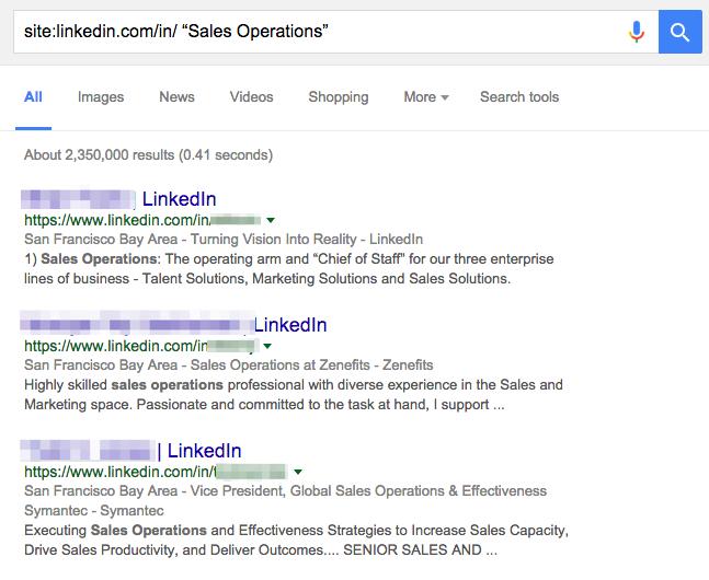 Linkedin Xray search